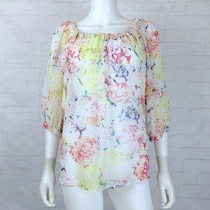 Cabi Watercolor Floral Sheer Blouse Top 826